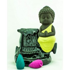 MRIDSHALA- Little Monk Censer Ceramic Backflow Stick Incense Burner, Home Decor